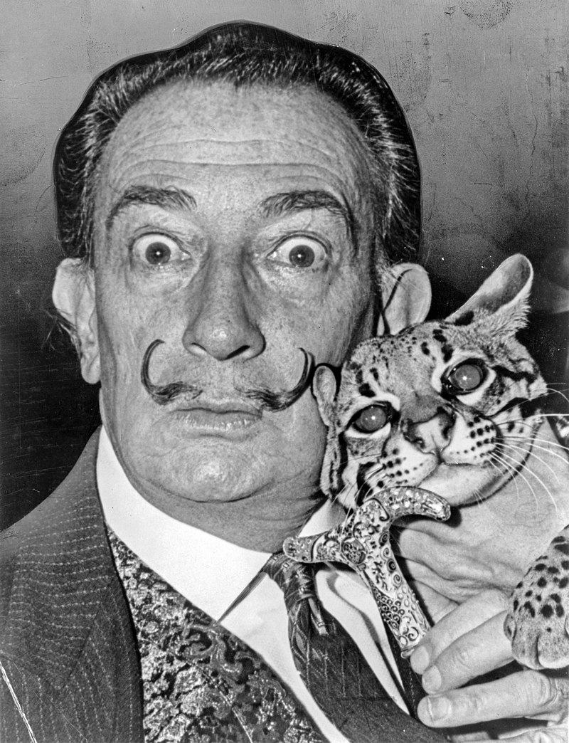 Salvador Dali wearing his iconic mustache